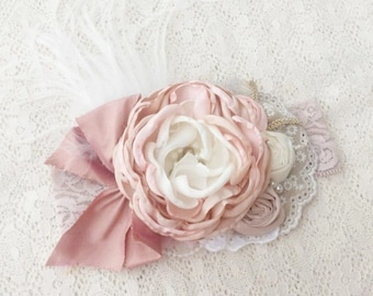 Pink divinity baby headband toddler headband girl headband flower headband feather headband birthday headband flower crown photo prop