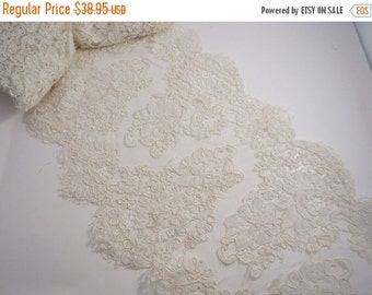 ON SALE Ivory Classic Floral Design French Alencon Bridal Lace Trim--One Yard