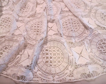 White Crochet Look Pure Cotton Lace Fabric--By the Yard