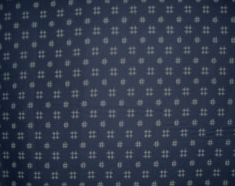 2 REMNANTS--TicTacToe Design Japanese Indigo Print Fabric--1&2/3 YARDS TOTAL