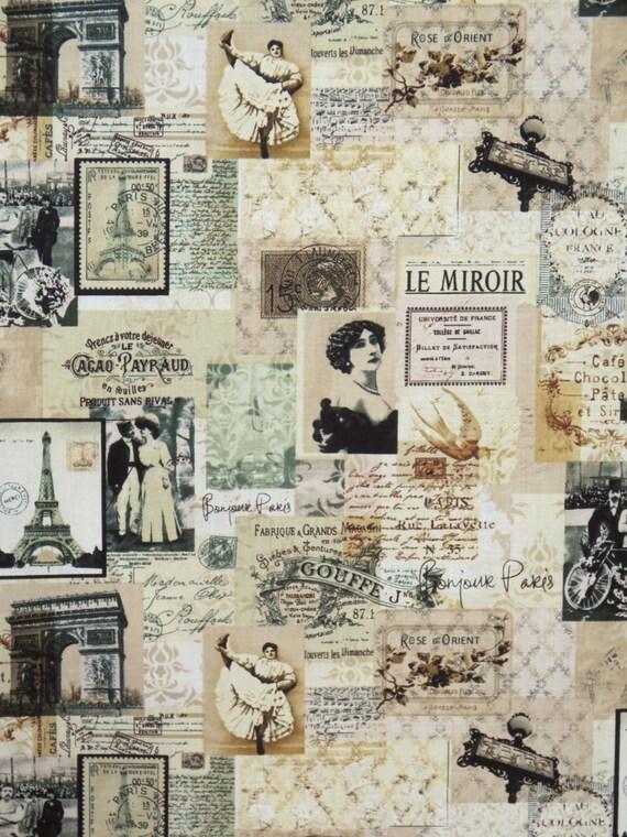 Sepia vintage paris le miroir collage print pure cotton for Le miroir paris