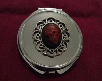SALE***Red Memento Mori Gothic Compact Mirror