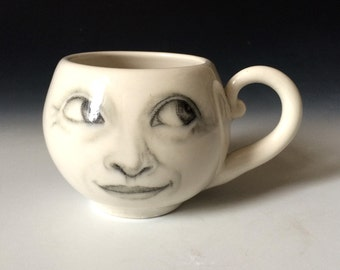 Moon Cup, Wide Eyed Moon Mug, Faces of the Moon, Procelain White Cup, White Pottery