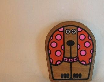 Vintage Puppy Pocket Tape Measure Mod 1960s OMC Otagiri Mercantile Co Japan Polka Dot Wood Puppy