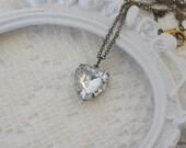 Heart Necklace, Art Deco Necklace, Crystal Heart Pendant, Vintage Rhinestone Necklace, Heart Jewelry, Love Necklace, Crystal Heart Necklace