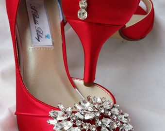 Wedding Shoes Red Bridal Shoes Large Crystal Broch and Teardrop Crystals Over 100 Custom Color Choices