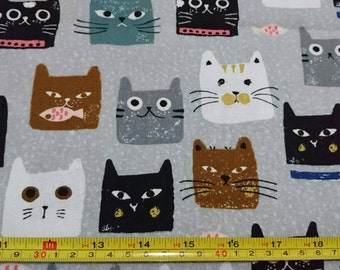 "Cute face of cats  - 3 colors  - 1 yard - cotton linen - animal fabric - for tote - Check out with code ""5YEAR"" to save 20% off"