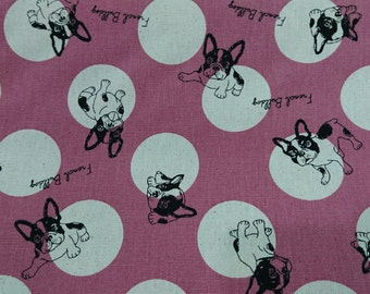 """French Bulldogs - 1 yard - 3 colors - cotton linen - animal - dogs - sewing, Check out with code """"5YEAR"""" to save 20% off"""