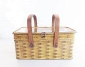 Vintage  Metal Picnic Basket . Wood Swing Handles . Basket Weave Metal Storage Tin. Educators Bakers Tin