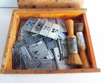 Vintage Interlocking Galvanized Stencils,  Alphabet and  Numbers Set