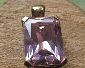 Vintage Sterling Silver Ladies Women's Pendant with Pink Cubic Zirconia