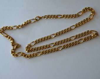 Figaro Unisex Link Chain Necklace Gold Tone  Heavyweight Wide 27 1/2""
