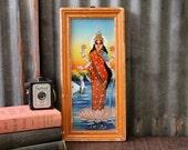 Lakshmi Vintage Indian Painting Hindu Deity Traditional Artwork Global Folk Art Reverse Painted Glass Wall Decor