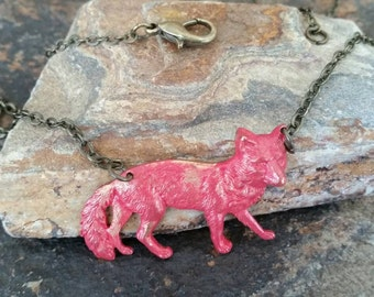 Red Vintage Fox Necklace