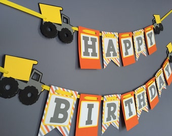 Boys Birthday Banner, Dump Truck Birthday Decorations, Dump Truck banner, Construction Birthday