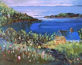 """Baie St-Paul, Charlevoix, Canada -  Canadian landscape - Original oil painting on canvas - Home decor  10"""" X 12"""""""