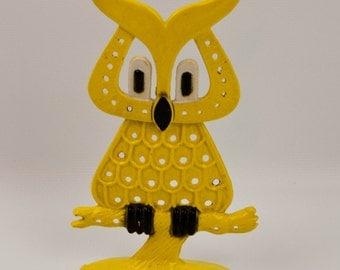 1970s DayGlo Yellow Enamel OWL Hootie Pierced Earring Jewelry Holder