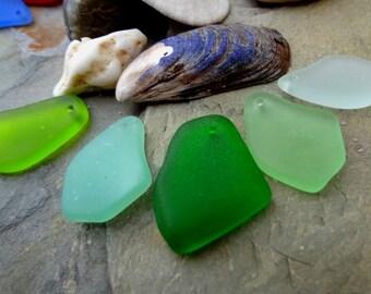 Sea Glass Freeform Pendants, 20 to 35mm, Olivine, Sea Foam, Peridot, Milky Seafoam, Shamrock, Autumn Green, Priced per Piece