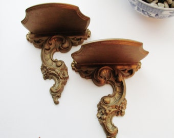 Vintage Syroco Gilded Shelves, Sconce Shelf, Hollywood Regency, Paris Apartment
