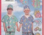 Kids Scrub Pattern Doctor Costume Nurse Top Bottom Uncut Boys Girls Size 2 - 5 Butterick 5565