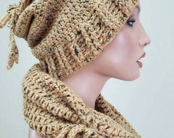 Womens , crochet hat, neck warmer and boot cover . 3 piece set.
