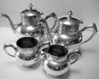 Antique Victorian Eastlake Tea Set: Original 1890s Victorian Silver Plate, Hartford Silverplate Co., Quad. Plate, 4 Pc. Set