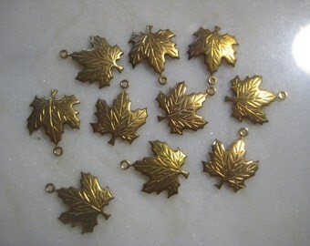 Vintage Brass  Maple Leaf Charm Drops: Die Struck Brass Stampings, Jewelry Findings, Charm, Drop, Jewelry Supply, 16x17mm, 10 pcs, One Ring
