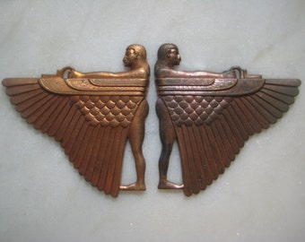Rare Vintage Art Deco Stampings: 1930s Egyptian Revival Winged Goddess Isis, Ginger or Rose Brass Pendants or Ornaments, 62x60mm, 2 pcs.