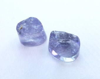 IOLITE Cabochon Cookies. Natural. Purple / Blue. Rough Top. Smooth Back and Side. Round-ish. 2 pc. 6.13 cts. 6x9x7mm (IO417)