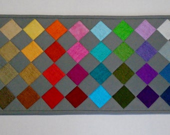 Contemporary Quilted Table Runner, Grey Table Runner, Rainbow Colors, Rustic Weave By Moda
