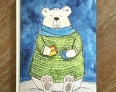 PRINTED CARD Polar Bear Teatime