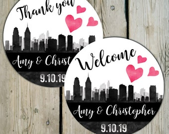 Philadelphia Skyline Favor Labels, Personalized Wedding Thank You Favor Stickers, City of Philly Wedding Stickers, Destination Wedding