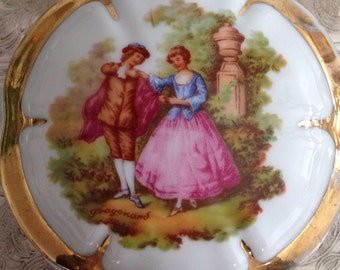 Charming Limoges Trinket or Powder Box Made in France, Cottage Style, Shabby Chic, Porcelain, Vintage, Boudoir. Romantic.