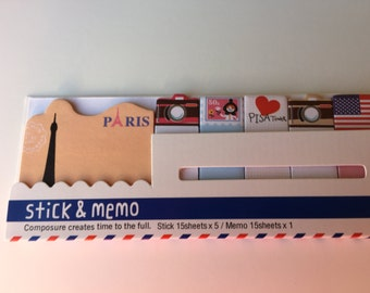 Paris France Travel Memo Tabs, Kawaii Sticky Flags, Planner Supplies