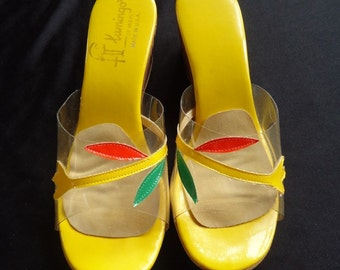 Sunny Yellow Carved Wedge Heel Vintage 1960's Women's Sandals Shoes 6.5