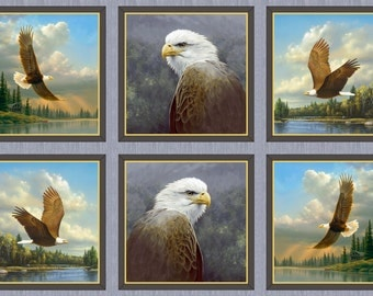 Quilting Treasures Majestic Eagles Panel #24322 -K Free Shipping Cotton Fabric for Quilting