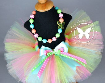 Pastel Birthday Tutu with Polka Dot Layered Bow and Optional Chunky Beaded Necklace...CUTIE PATOOTIE
