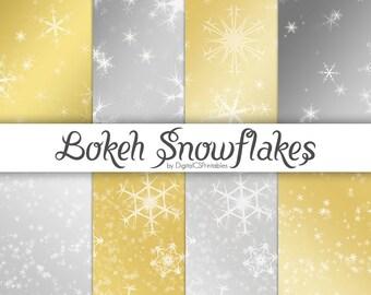 Snowflake digital paper gold Christmas digital paper Winter digital paper Holiday digital paper Bokeh digital paper digital Christmas paper