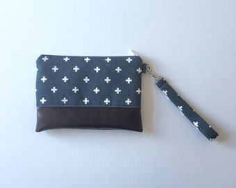 Navy Blue Plus Sign Mommy Clutch - Wallet Wristlet - Clutch - Small handbag - Navy Blue