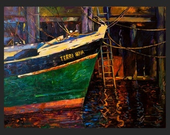 Original Oil Painting on Canvas-Boat-24x32 Original landscape-impressionistic oil painting by Ivailo Nikolov