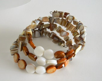 Wrap Bracelets Boho Style  Mother of Pearl chips and coins