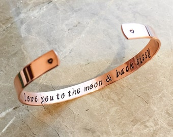 Love You to the Moon and Back - Stamped Metal Bracelet - Custom Hand Stamped Bracelet, Personalized Bracelet Cuff, Personalized Bracelet