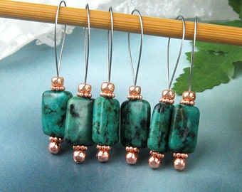 Stitch Markers, Knitting, Chrysocolla, Semi-Precious Stones, Snag Free, Jeweled Tool, Knitting Accessory, Supplies, Handmade, Knitters Gift