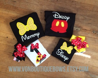Personalized Mouse Family Shirts Birthday Vacation Bows Ears boutique hairbow