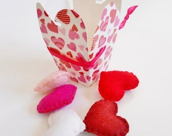 Felt Hearts - Red and Pink Puffy Hearts -  Bowl Fillers - Small Heart Ornaments - Heart Embellishments