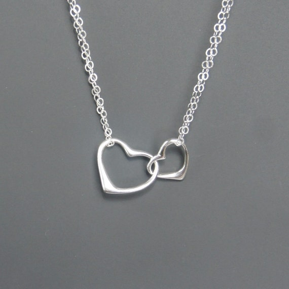 18th Birthday Cz T Bar Sterling Silver Heart Bracelet Can: Two Hearts Necklace Sterling Silver Double By