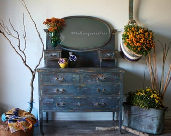 Look at This Beauty - Hand Painted Vintage Dresser in Navy & Teal
