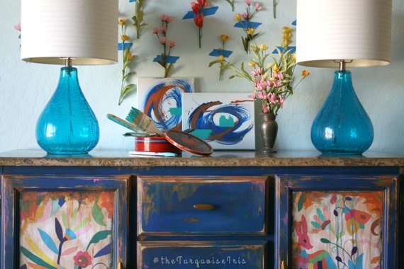 One of a Kind Klein Blue Buffet with Otomi Print