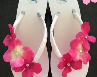 Bridal Flip Flop/Wedges.Wedding Flip Flops.Wedding Sandals..Brides.Beach Wedding.Pink Flip Flops.Rhinestone Flip Flops.Beach Wedding.