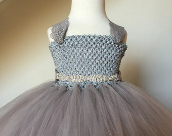 Gray Silver Flower Girl Lace Tutu Dress, Rhinestone Sash- Flower Girl Dress, Wedding Dress, Baby Girl, Toddler, Girls